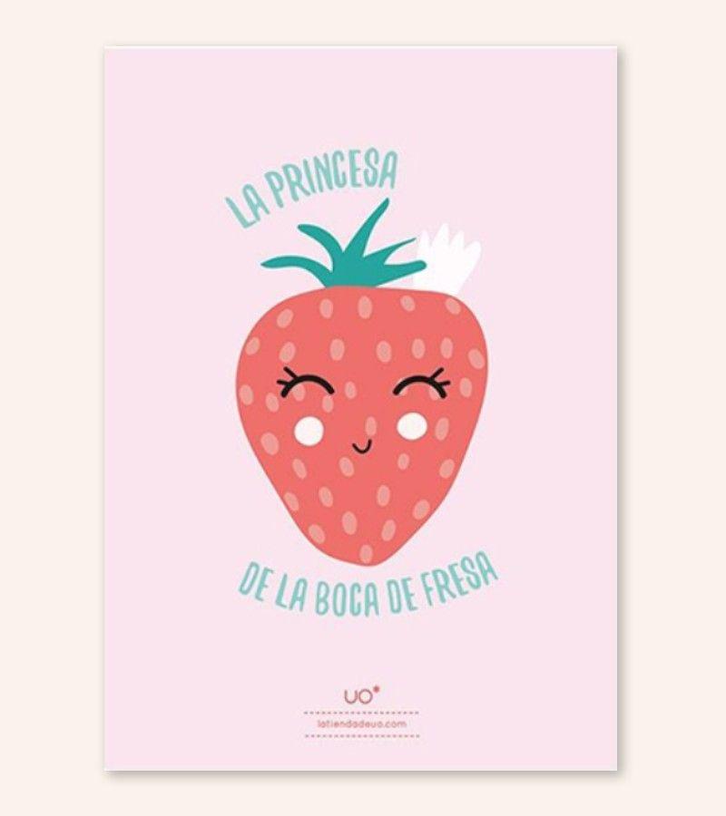 """Lámina Infantil """"Princesa de la boca de fresa"""""""