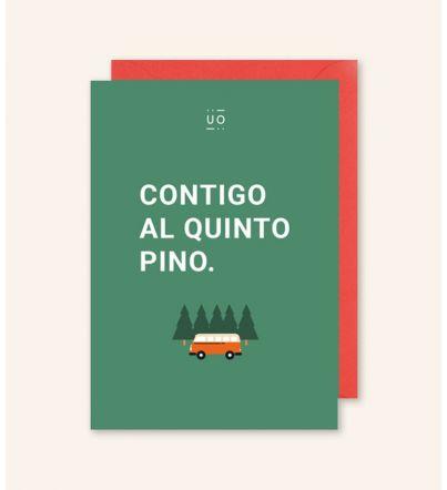 """Postal """"Contigo al quinto pino"""" Furgoneta"""