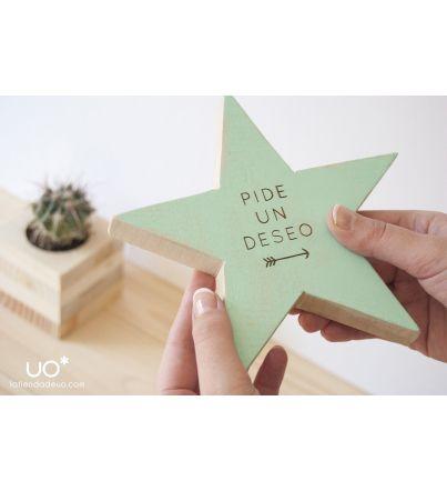 """Estrella madera """"Pide un deseo"""""""
