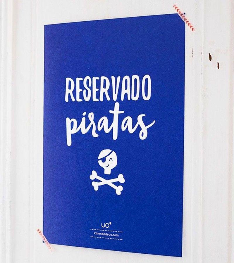 """Lámina Infantil """"Reservado Piratas"""""""