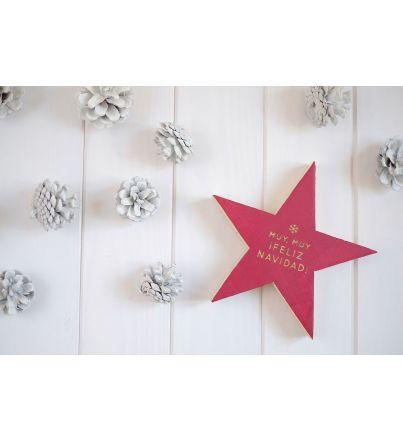 "Estrella madera  ""Feliz Navidad"""