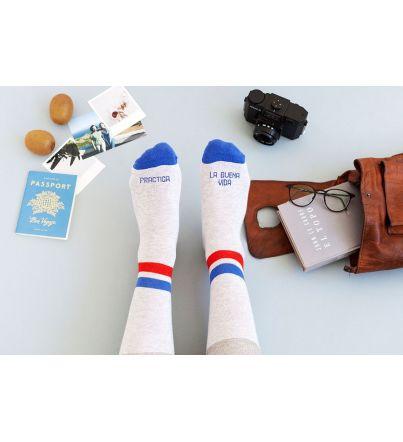 """Calcetines """"Practica la buena vida"""" Azul"""