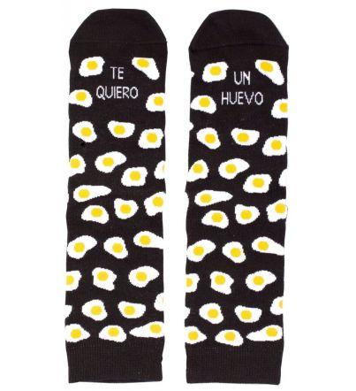 """Calcetines """"Te quiero un huevo"""" Negro"""