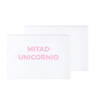"""Neceser de plástico """"Mitad Sirena. Mitad unicornio"""""""