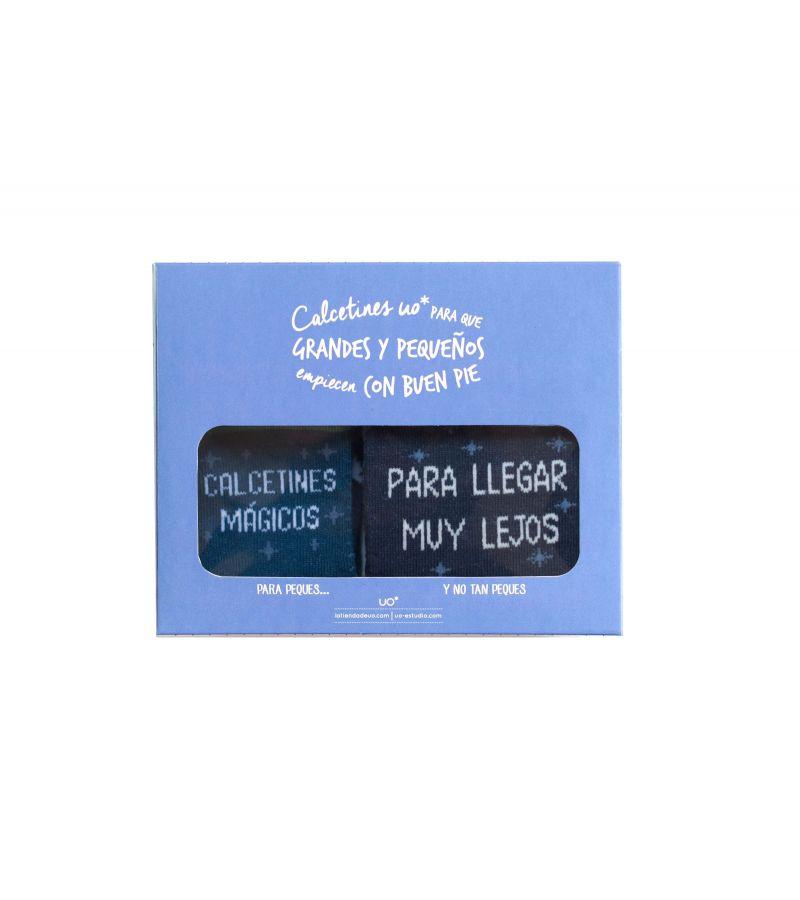 """Kit Grandes y Peques """"Calcetines mágicos"""" Azul / Azul"""