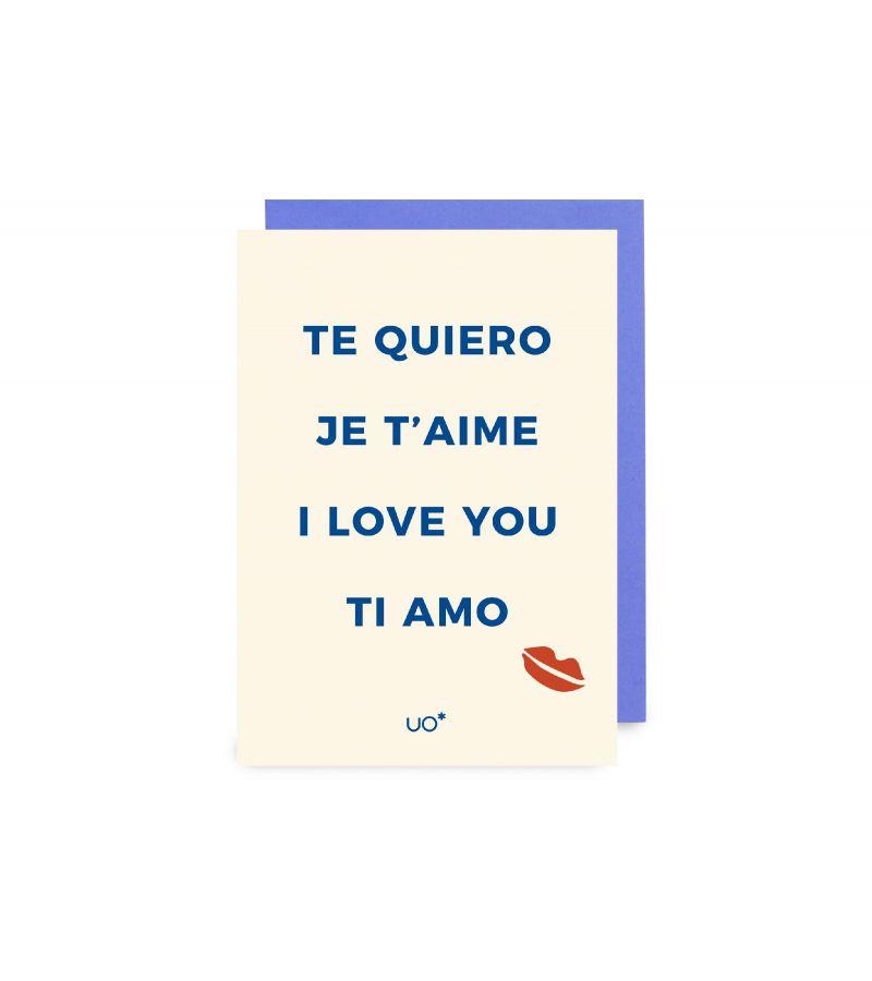 "Postal ""Te quiero. Idiomas"""