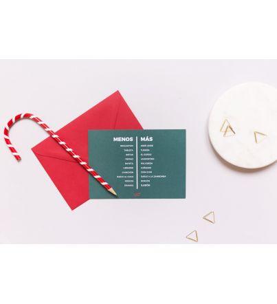 """Postal """"Menos - Más"""" Navidad"""